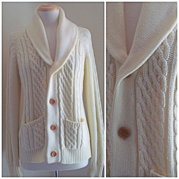 Unisex Richman Brother Ivory Cable Knit Button Up Sweater / Cardigan