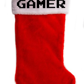 "Gamer Christmas Holiday Stocking 17"" Red/White Plush Hanging Sock Santa Stuffer Merry Gothmas"