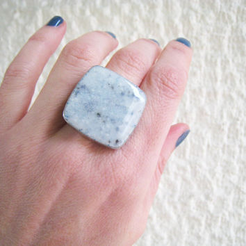 Faux marble white ring, blue grey granite stone imitation alabaster earthy minimal big chunky silver adjustable simple modern greek summer