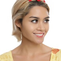 Licensed cool Beauty & the Beast Enchanted Red Rose Faux Gold Metal Tiara Crown Blackheart NEW