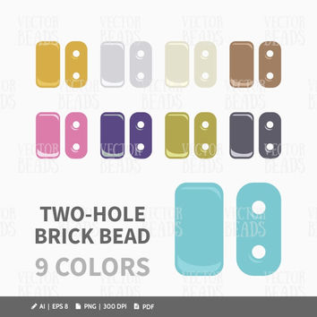 Czech Two-Hole Brick Bead Clip Art Set - Beads Vector Graphic - Vector Illustration of Beads - ai, eps, png, pdf