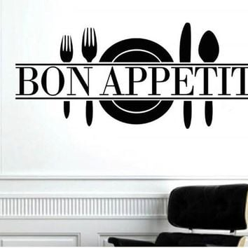 Bon Appetit Quotes Wall Sticker Art Decals Art Living Room Kitchen restaurant Vinyl Decoration knife and fork Wall Mural