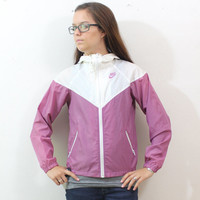 Vintage Retro Purpleish Nike Windbreaker Track Jacket Blue Tag AW77 Xsmall