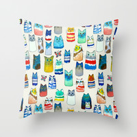 Lots of Watercolor Kitty Cats Throw Pillow by TigaTiga Artworks