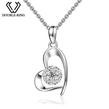 DOUBLE-R Love Heart Pendants Fine Jewelry for Women 18K White Gold 0.138ct Diamond Pendants With Silver Necklaces CAP03406KA