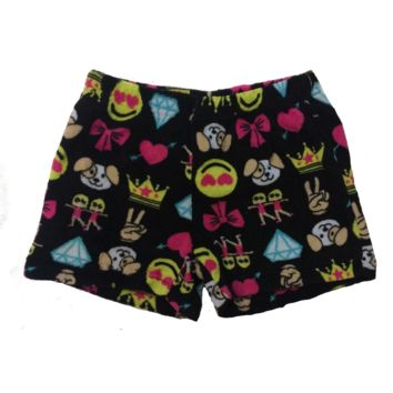 So Nikki Girl's Super Soft Fleece Pajama Shorts - Emoji