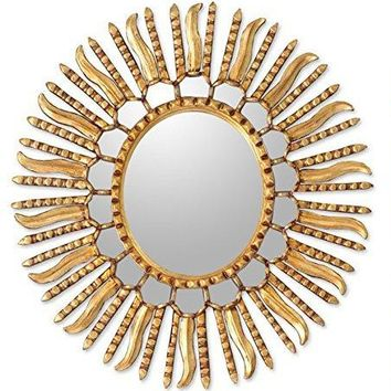 NOVICA Gold Sunburst Bronze Leaf Wood Framed Decorative Wall Mounted Mirror, Metallic 'Winter Sun'