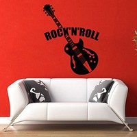 Vinyl Wall Decals Music Theme Guitar Rock and Roll Decal Sticker Home Wall Decor Art Mural Z728