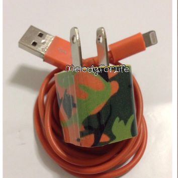 Orange and green camo  I Phone charger in different USB color