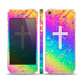 The Vector White Cross v2 over Neon Color Fushion V2 Skin Set for the Apple iPhone 5s