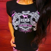 Victoria's Secret PINK Fashion Print Short Sleeve T-Shirt Top Tee