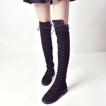 Round Toe Lace Up Low Chunky Heel Over-knee Long Boots