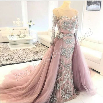 Gorgeous Long Evening Dress 2017 Mermaid Long Sleeve Beaded Lace Floor Length Dubai Arabic Women Formal Evening Gowns Dresses
