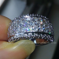 Size 6/7/8/9/10 Luxury Hot sale  jewelry Full white topaz 10kt white gold filled women Simulated Diamond Wedding Bridal Ring