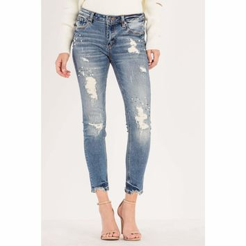 Distressed Mid Rise Ankle Skinny Jean