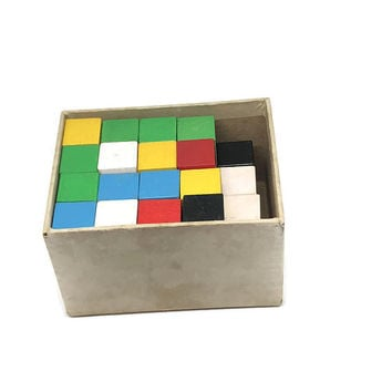 Vintage Color Cubes Attribute Games and Problems 1965 Education Development Center Wooden Wood Blocks