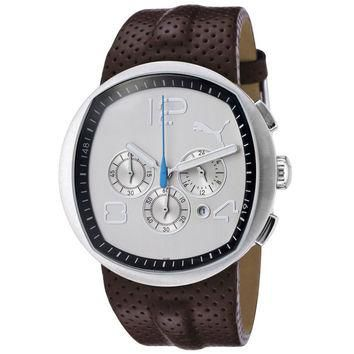 Puma PU000071003 Men's Pollux Grey Dial Brown Leather Strap Chronograph Watch