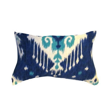 "Blue Pillow- Ikat Pillow- Blue Ikat Pillow .Blue Lumbar Pillow. Modern Pillow Cover.12 x16"" or 12 x 17"" or 12"" X 18"""