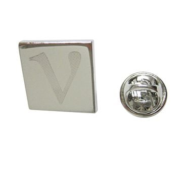 Silver Toned Etched Greek Letter Nu Lapel Pin