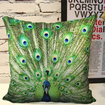Elegant Square Velvet throw pillow cushion cover peacock pattern double sides optional sizes sofa pillow/car pillow/bed pillow