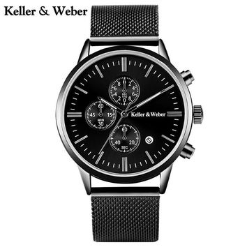 Keller & Weber High Quality Fashion Men's Quartz Wristwatch Mesh Stainless Steel Band Chronograph Date Dial Casual Male Watch