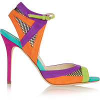 Brian Atwood - Iara mesh-paneled color-block suede sandals