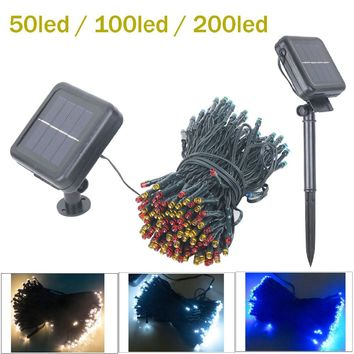 solar LED String Light Christmas light Garland 50/100/200 LED Fairy Lights With Battery Outdoor Garden Party Tree Wedding Decor