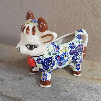 Vintage Cow Creamer , Hand Painted Flowers , Cow Jug , Vintage Kitchen , Floral Cow Jug