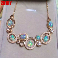 Fire Opal Necklace natural gem jewelry solid sterling silver women banquet wedding dinner party