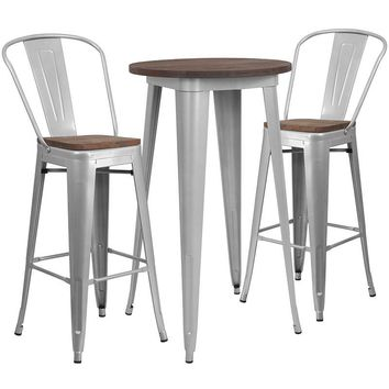 """24"""" Round Silver Metal Bar Table Set with Wood Top and 2 Stools [CH-WD-TBCH-8-GG]"""