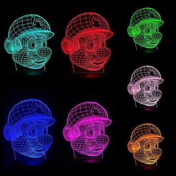 Classic Super Mario Cartoon Video Game Figure Color Changing 3D Table Lamp LED Night Light USB Powered Acrylic Novelty Christmas Lighting Gift