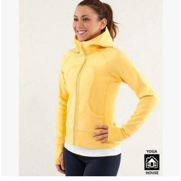 "Gotopfashion """"lululemon"""" Scuba Hoodie jog run yoga workout clothes style fashion Yellow"""