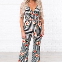 Goal Getter Striped Floral Jumpsuit (Peach/Stripe)