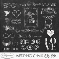 "Wedding Chalkboard Clipart ""WEDDING CHALK Clipart"" chalkboard graphic,word art, wedding invite,for photographers, save the date, invitations"