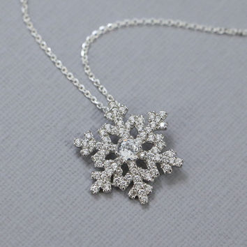 Sterling Silver and CZ Snowflake Pendant on Sterling Silver Necklace Chain, Snowflake Necklace