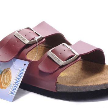 Birkenstock Arizona Sandals Leather Purplish Red - Ready Stock