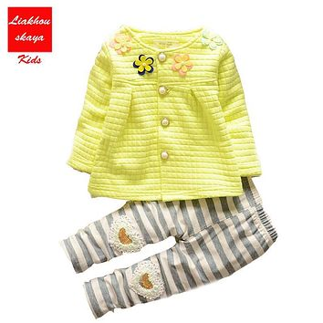 New Arrive Baby Girls Clothes Kids Flower Clothing + Pants 2pcs Outfit Clothes Sets Children Tracksuit Set For Spring Autumn