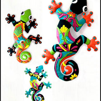 3 Geckos - Haitian Painted Tropical Metal Wall Hangings - Recycled Steel Drum Garden Art - M-Gecko-Combo