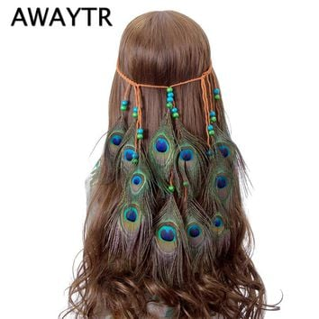 AWAYTR Ethnic Peacock Feather Headband for Women Bohemian Headpiece Festival Halloween Headwear Indian Hair Accessories