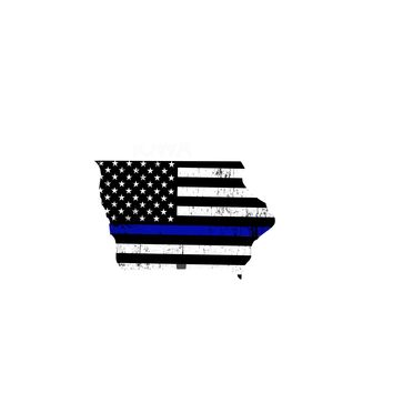 Iowa Distressed Subdued US Flag Thin Blue Line/Thin Red Line/Thin Green Line Sticker. Support Police/Firefighters/Military
