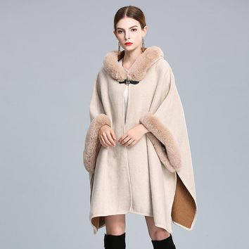 2018 new arrived autumn and winter hooded imitation fur collar wool coat women cloak shawl lady's blends loose jacket cardigan