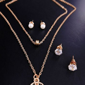 18K Gold Filled Circles Jewelry Set Pendant 48cm Necklace Stud Drop Earrings