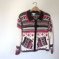 STOREWIDE SALE... vintage ugly Christmas sweater // tacky christmas MITTENs sweater // holiday party sweater in red and black size M