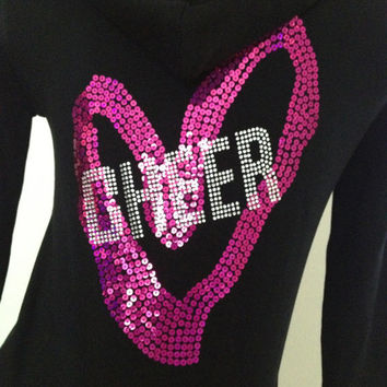 Hot Pink & Black Heart Cheer Hoodie Jacket