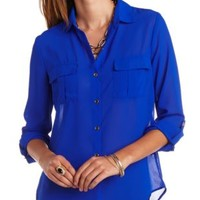 Sheer Flyaway Button-Up Top by Charlotte Russe