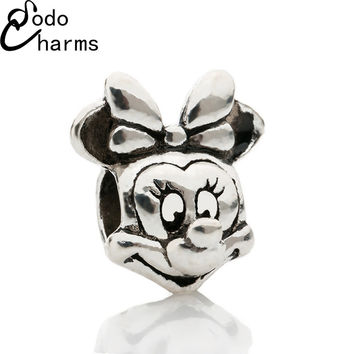 2016 new Free Shipping 1Pcs Silver Bead Charm European Silver with Mickey cartoon Charm Pendant Bead Fit Pandora Bracelet