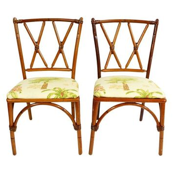 Pre-owned Palm Beach Bamboo Style Wood Chairs - A Pair
