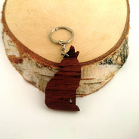 Wooden Wolf Keychain, Walnut Wood, Animal Keychain, Environmental Friendly Green materials