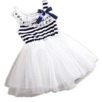 Zago Kids Baby Girl Striped Bowknot Lace Collar Mosaic Sleeveless Princess Skirt