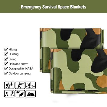 3pcs Camouflage Emergency Blanket Survival Gear Mylar Survival Thermal Blankets foroutdoors Hiking Marathon Bug Out Bag